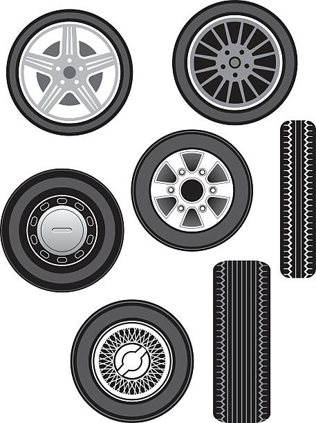 Illustration of front and side views of car wheels vector art illustration
