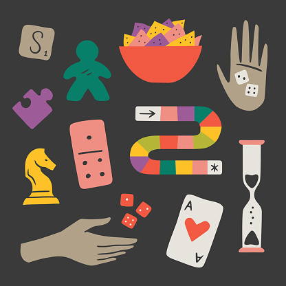 Illustration of fun game night components — hand-drawn vector elements