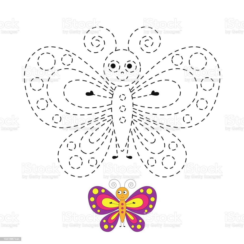 Komik Kelebek çizimi Küçük Bebekler Için Stok Vektör Sanatı