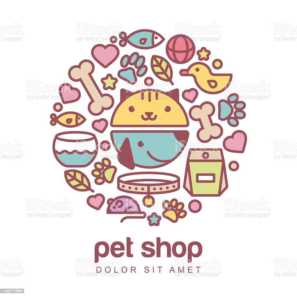 Illustration of funny muzzle of cat and dog. vector art illustration