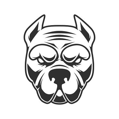 Illustration of funny pitbull terrier head. Design element for label, sign, emblem. Vector illustration