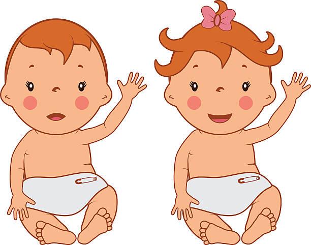Illustration of funny smiling little babies .Vector vector art illustration