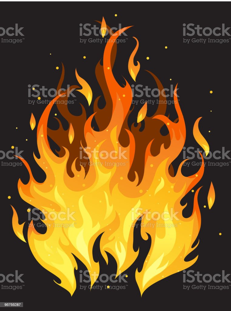 Illustration of furious fire on black background vector art illustration