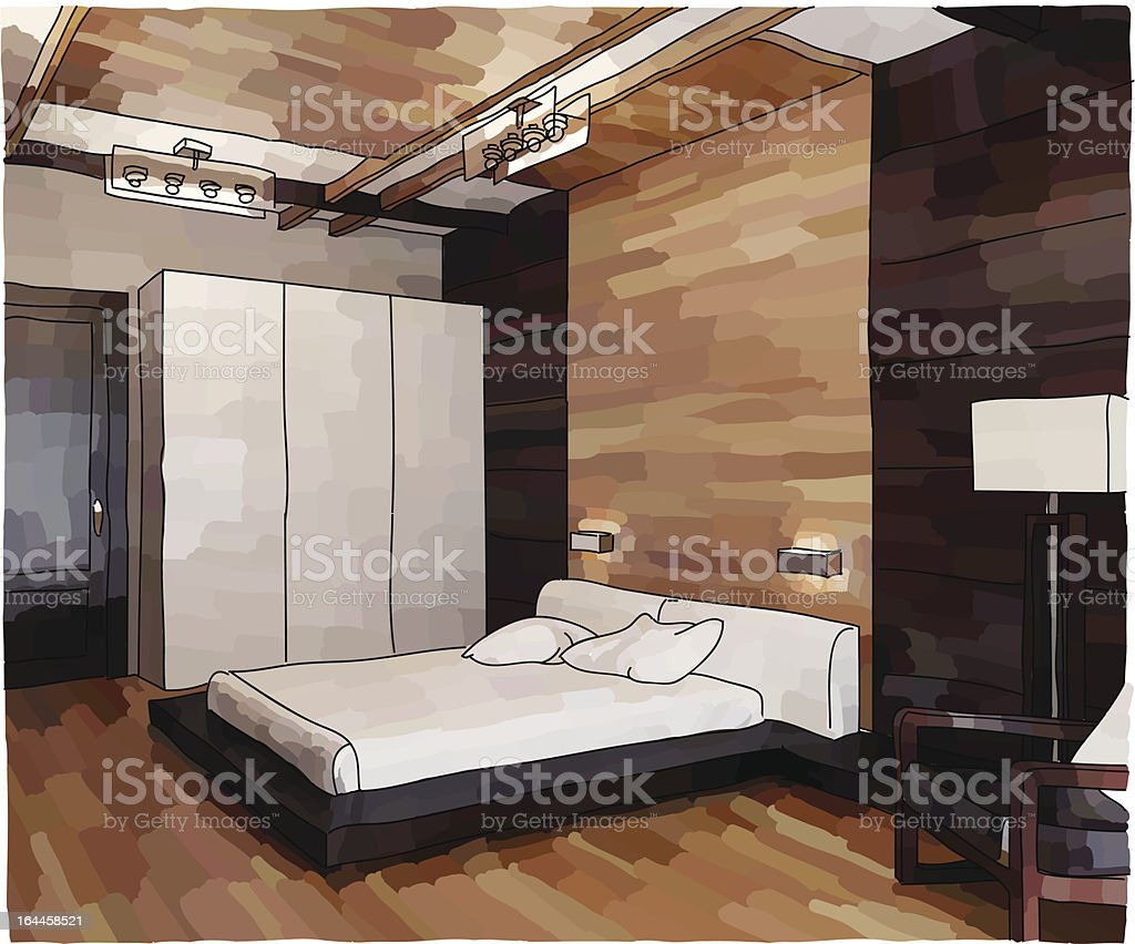 Illustration of furniture in a modern bedroom royalty-free stock vector art