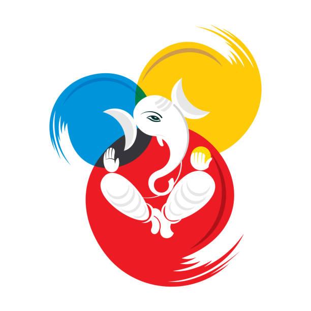 abbildung von ganesh chaturthi festival plakat - elefantenkunst stock-grafiken, -clipart, -cartoons und -symbole