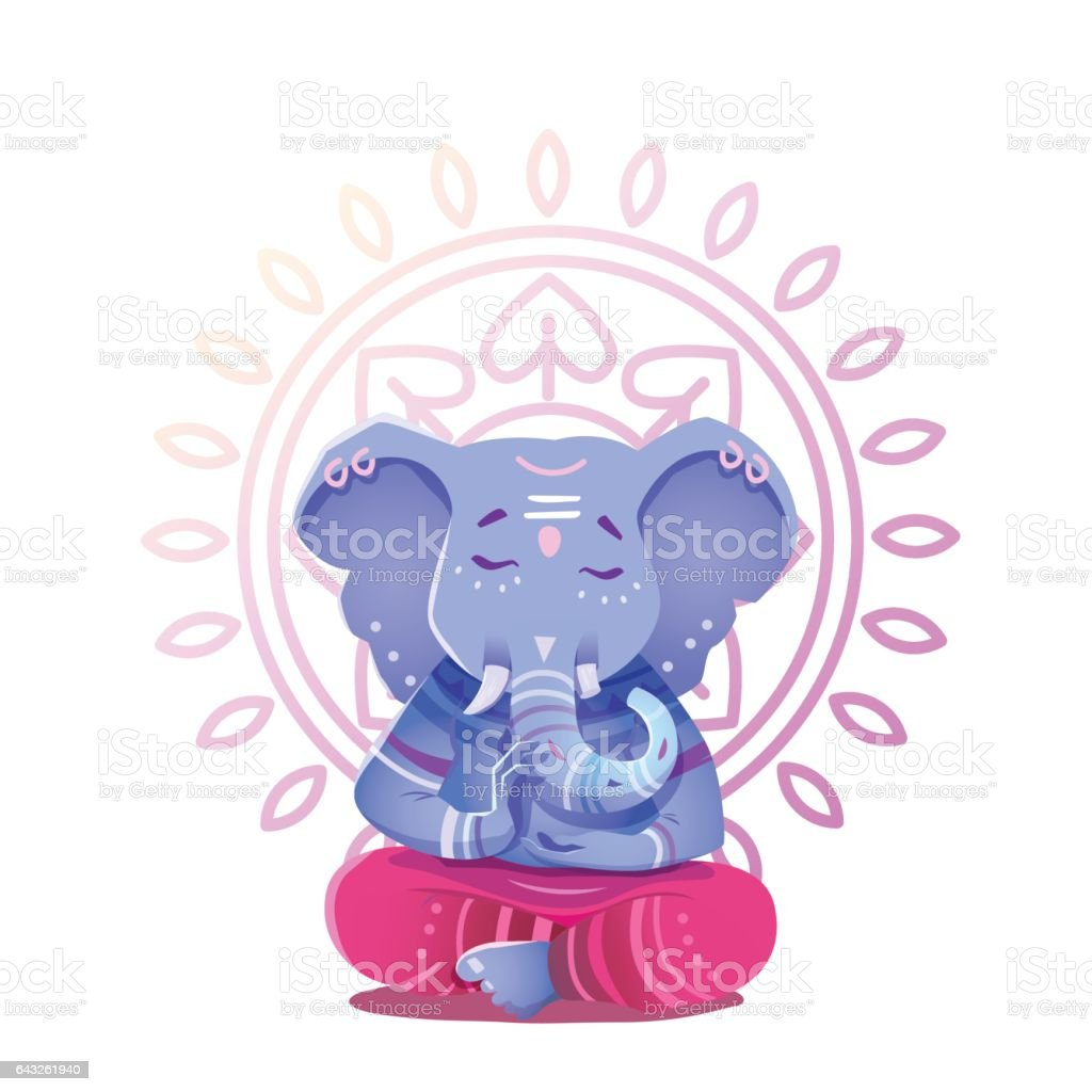 Illustration of Ganesh Indian god of wisdom and prosperity.