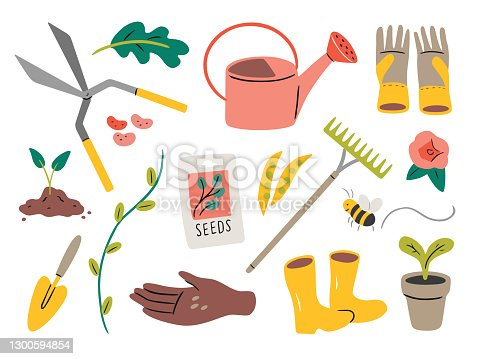 Illustration of gardening elements — hand-drawn vector elements