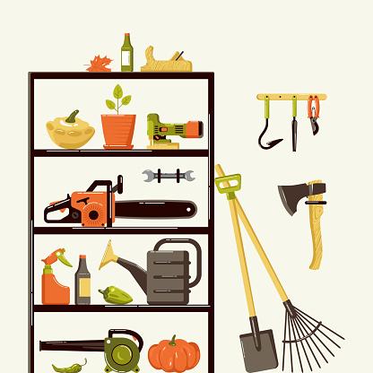 Illustration of gardening tools in pantry