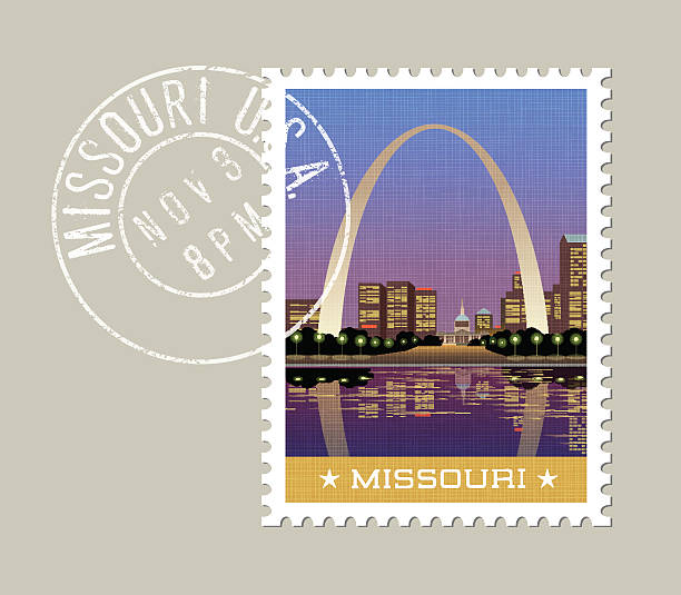 illustration of gateway arch and downtown, st. louis. missouri - st louis stock illustrations