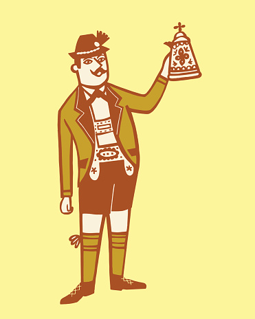 Illustration of German man in traditional clothing