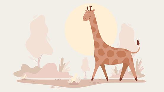 Illustration of giraffe. African Wilderness Scene