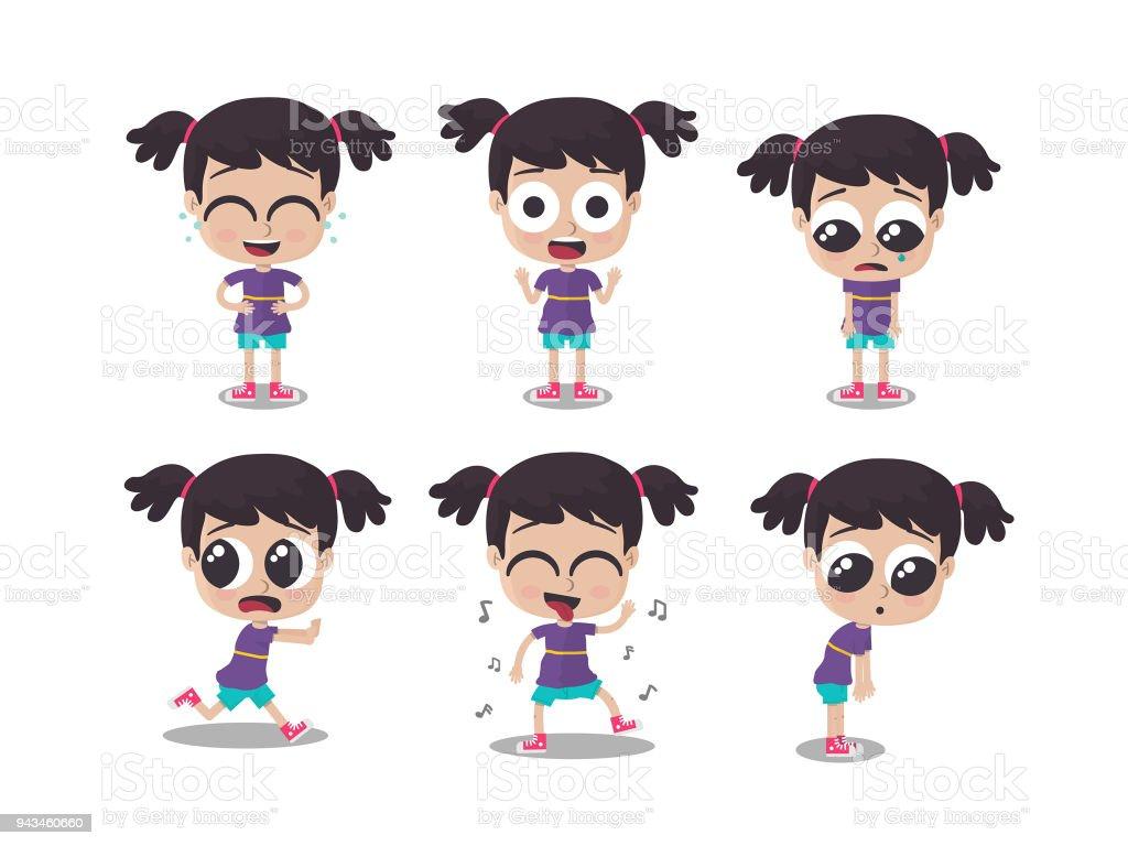 Ilustración de chica mostrando diferentes emociones - ilustración de arte vectorial