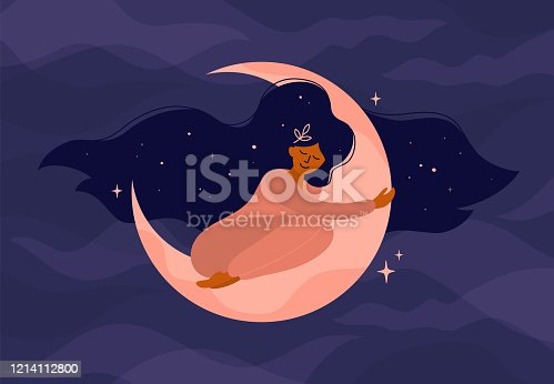 istock Illustration of girl sleeping on the moon or modern witch 1214112800