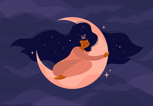 Illustration of girl sleeping on the moon or modern witch