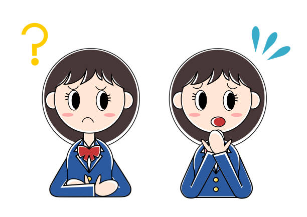 Illustration of girl student(question,bewilderment) vector art illustration