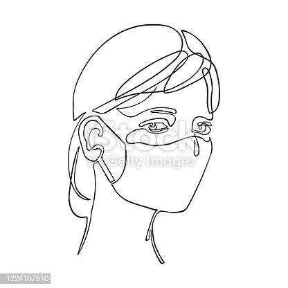 Illustration of girl using safety breathing mask