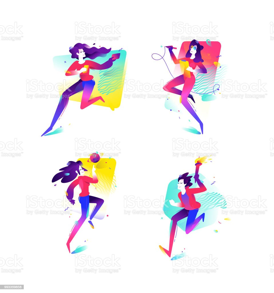 Illustration of girls and boys. Businesses and start-ups of the younger generation. Vector flat gradient illustration. Image for the banner of the website and print. Developers. Sport and achievements.