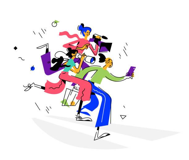 stockillustraties, clipart, cartoons en iconen met illustratie van meisjes bloggers, journalisten. vector. drie meisjes in retro stijl. vrouwen schieten op de telefoon-, foto- en videocamera's. illustratie voor vrouwen, tijdschriftartikel. paparazzi of toeristen. - journalist