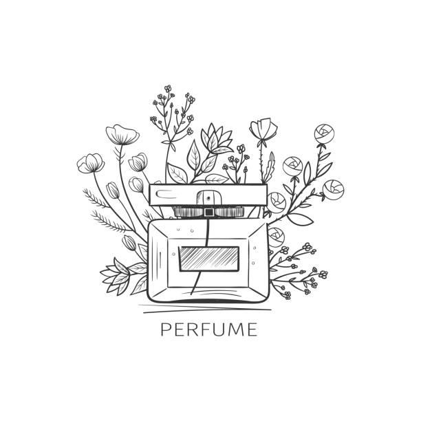 illustrazioni stock, clip art, cartoni animati e icone di tendenza di illustration of glass perfume bottle - profumi spray