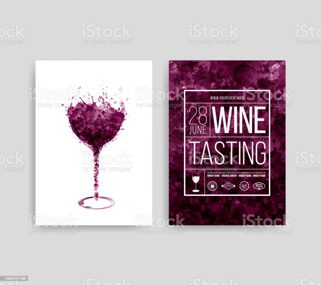 Illustration Du Verre Avec Le Vin Rouge Les Taches Taches De Fond De Gouttes De Vin Répertorie Les Modèles Pour Le Vin Flyer Promotions Invitations