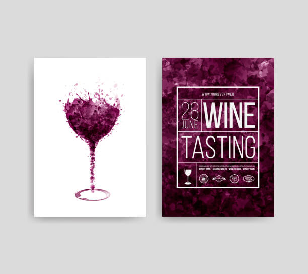 Illustration of glass with red wine stains. Background spots of wine drops. Templates for wine lists, flyer, promotions, invitations. Illustration of glass with red wine stains. Background spots of wine drops. Templates for wine lists, flyer, promotions, invitations. Vector illustration wine stock illustrations