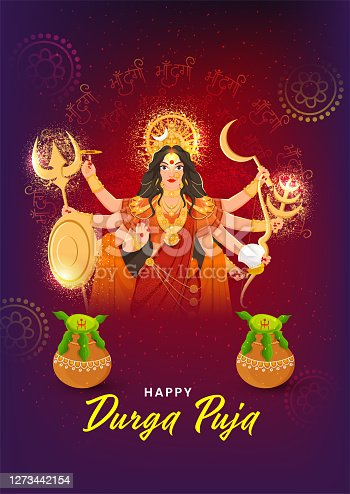 istock Illustration of Goddess Durga Maa with Worship Kalash (Pots) and Noise Effect on Maa Durga Hindi Text Pattern Purple Background for Happy Durga Puja. 1273442154