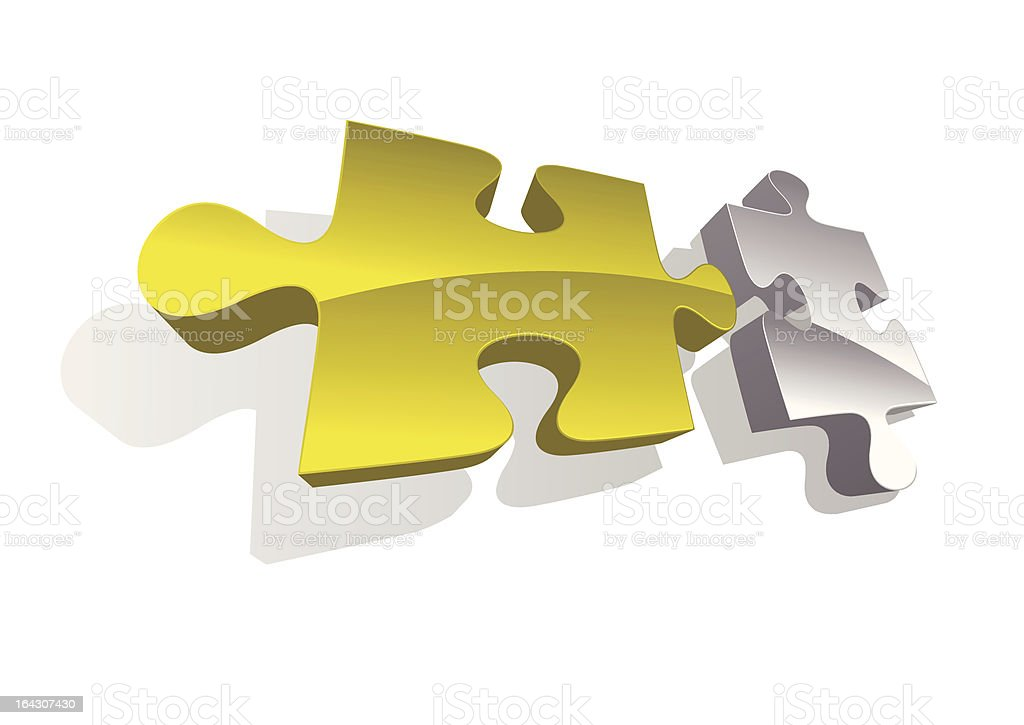 Illustration of gold and silver puzzle piec royalty-free stock vector art