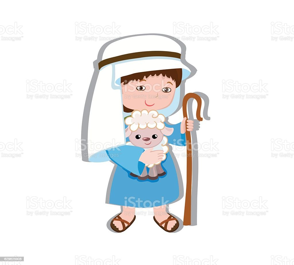 Illustration of good shepherd cartoon design. vector art illustration