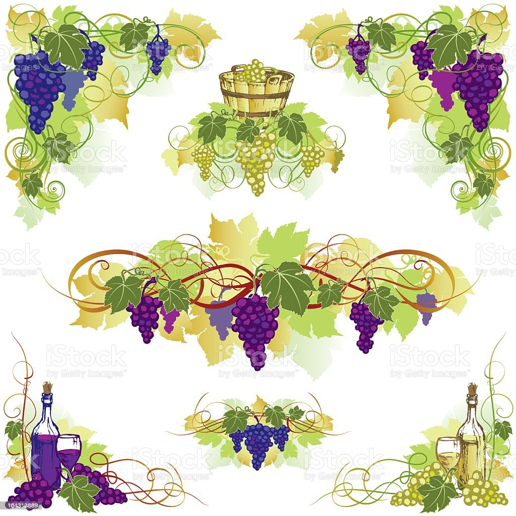 Illustration of grape and wine design with white background royalty-free stock vector art