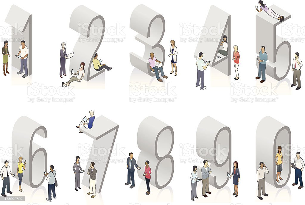 Illustration of gray isometric numbers with people royalty-free illustration of gray isometric numbers with people stock vector art & more images of adult