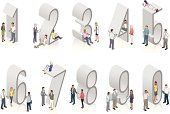 Illustrated people use mobile devices on and near 3D isometric numbers. Grouped for editing.