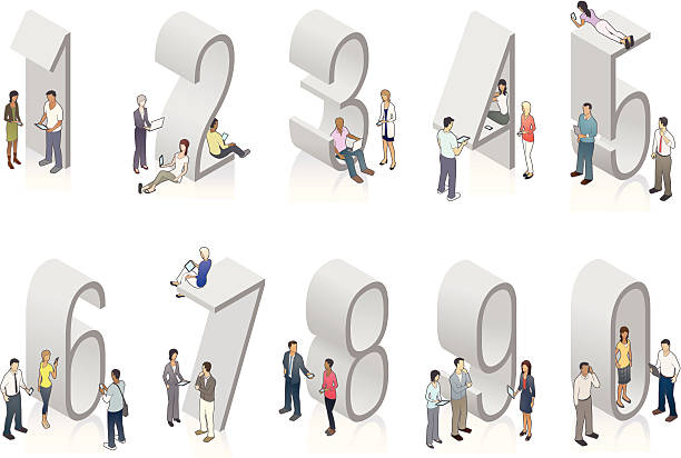 Illustration of gray isometric numbers with people vector art illustration