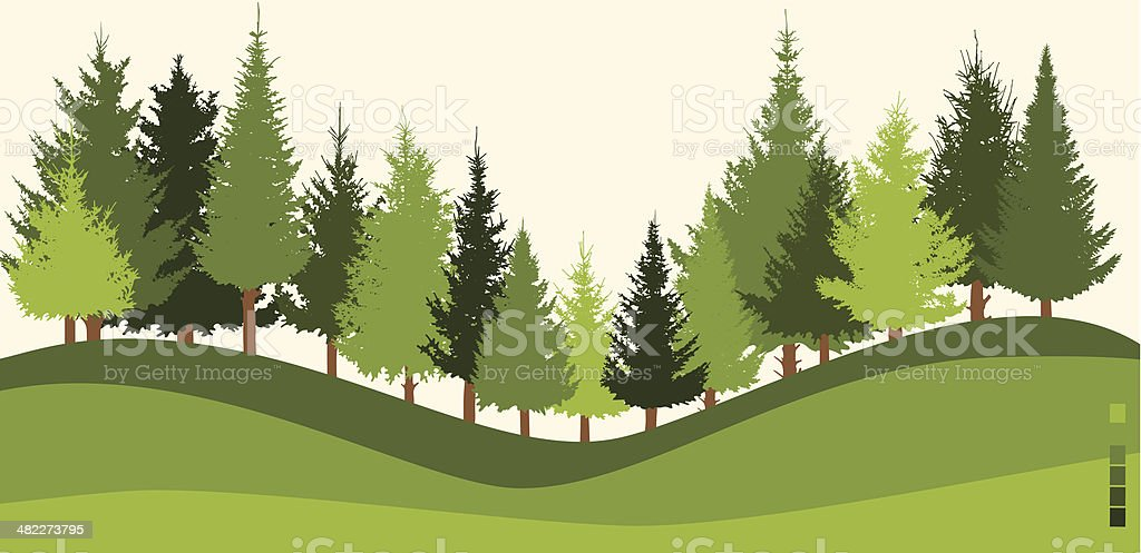Illustration of green forest on sloped land royalty-free stock vector art