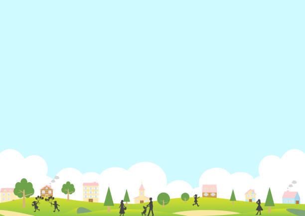 bildbanksillustrationer, clip art samt tecknat material och ikoner med illustration av gröna parklandskap och livsstil människor - jogging hill
