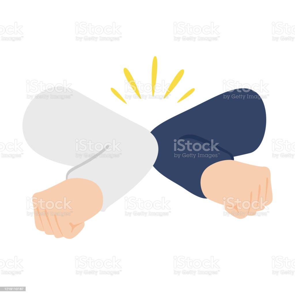 Ilustración de Ilustración De Saludo Con Codo A Codo y más Vectores Libres  de Derechos de Adulto - iStock
