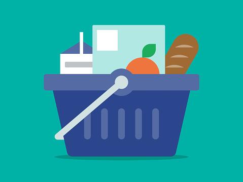 Illustration of grocery basket full of healthy food