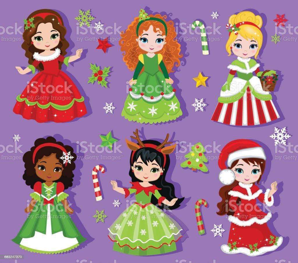 Illustration Der Gruppe Schöne Winter Weihnachten Prinzessin Stock ...