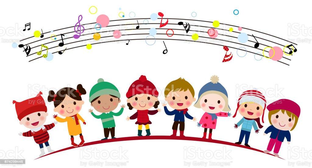 Illustration of group of children singing vector art illustration