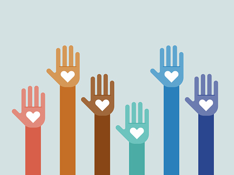 Illustration of group of multi-colored hands raised together