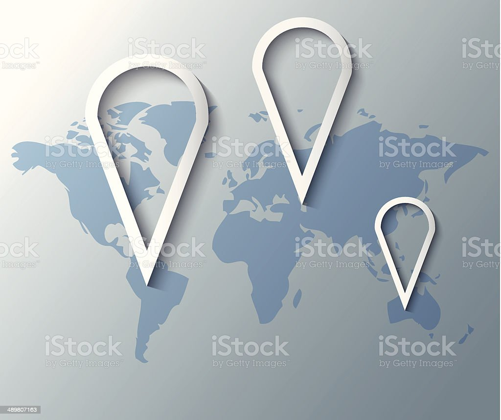 Illustration of group pins with world map vector art illustration