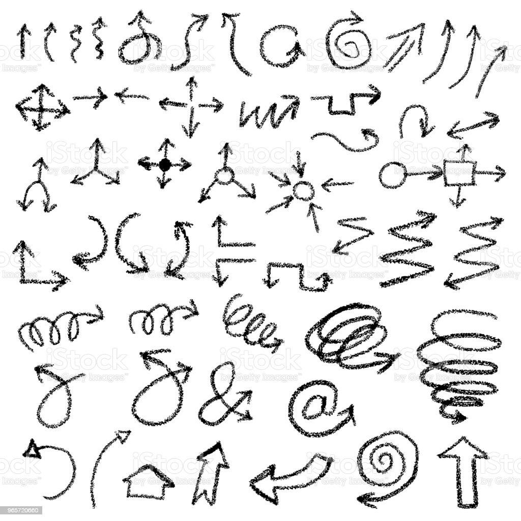 Illustration of Grunge Sketch Handmade Watercolor Doodle Direction Arrow Set - Векторная графика Абстрактный роялти-фри