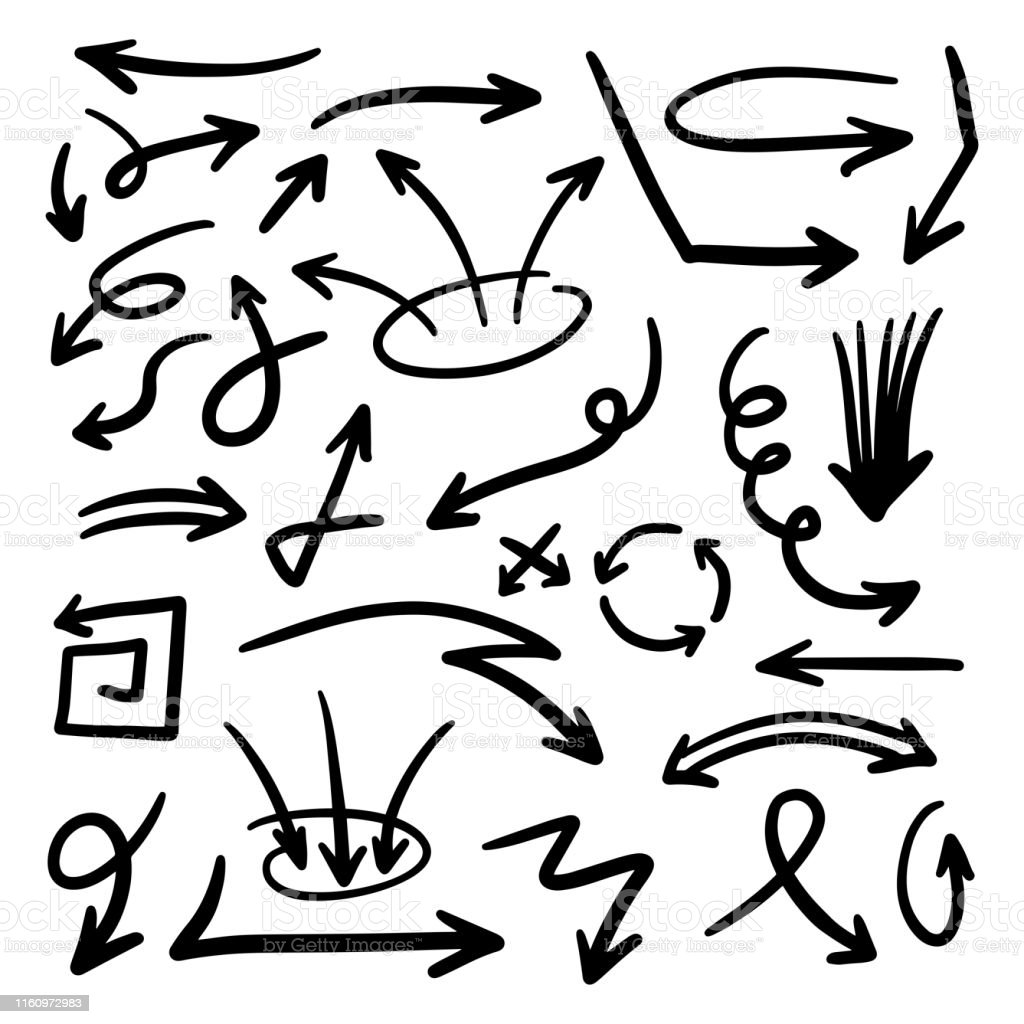 Illustration of Grunge Sketch Handmade Watercolor Doodle Vector Arrow...