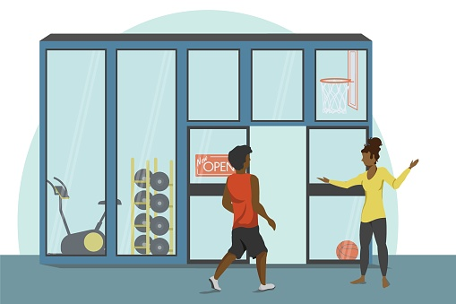 Illustration of gym owner welcoming customer