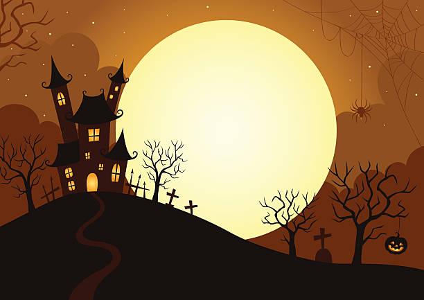Illustration of Halloween night holiday,Halloween,background,landscape,night,moon scary halloween scene silhouettes stock illustrations