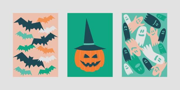 Illustration of halloween postcards with bats, ghosts and pumpkin vector art illustration