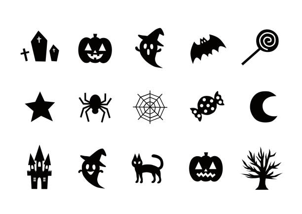 Illustration of Halloween(icon) Illustration of Halloween(icon) backgrounds clipart stock illustrations
