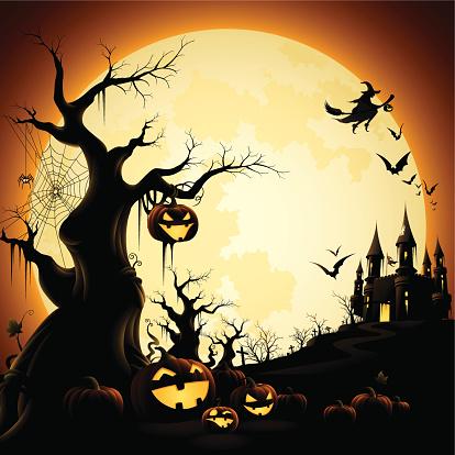 Illustration of Halloween-themed silhouettes over orange