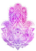 Illustration of Hamsa with boho pattern and pink watercolor background. Buddhas hand. Vector element for your sketch of tattoo, coloring book, T-shirt print and your design.