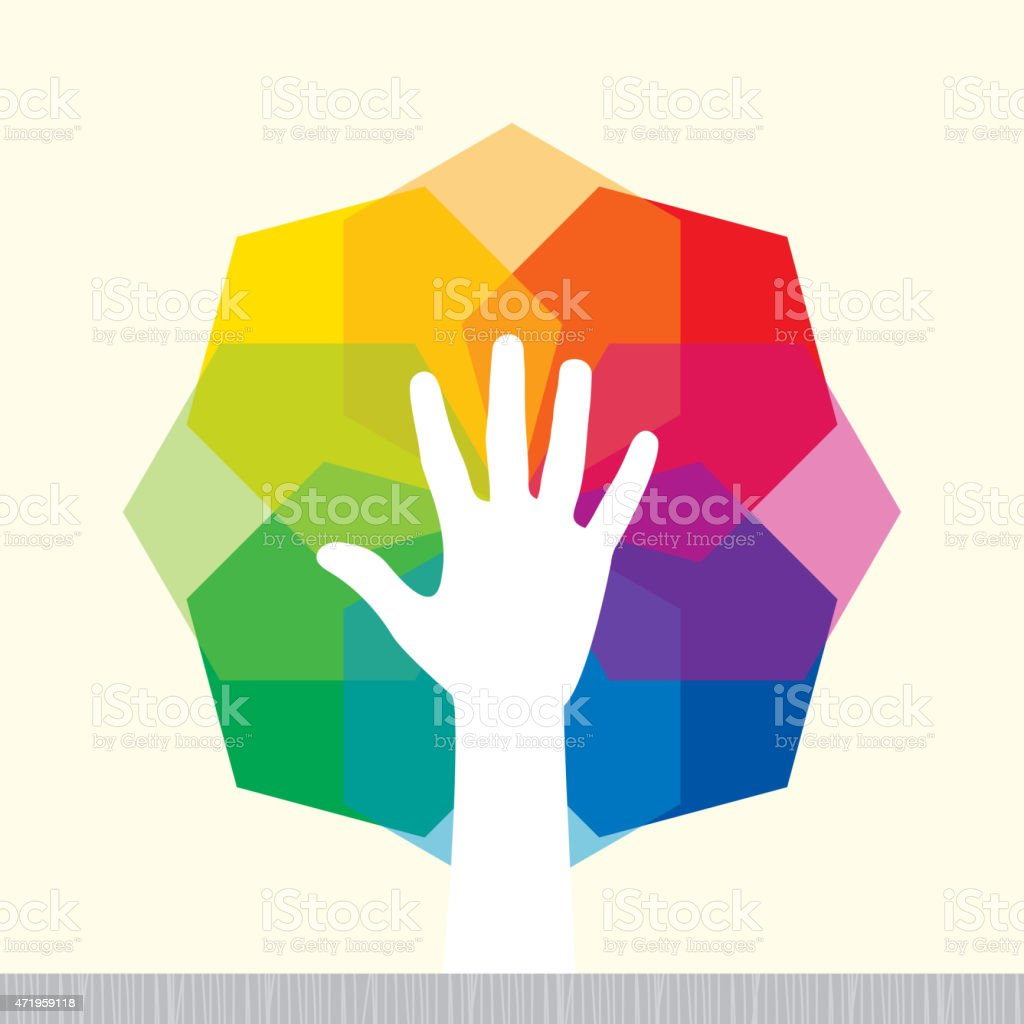 Illustration of hand and geometrical color spectrum vector art illustration