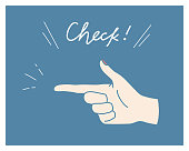 Illustration of hand gestures representing checks, confirmations, attention, etc.